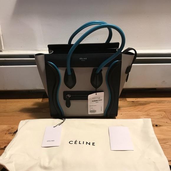 Celine Micro Luggage Nano Tote Blue Grey Black 77e2dd4d6a479